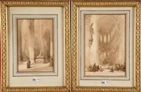 intérieurs d'église animés (2 works) by johannes bosboom