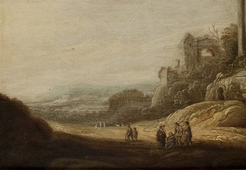 landscape with wanderers in front of ruins by anonymous dutch 17