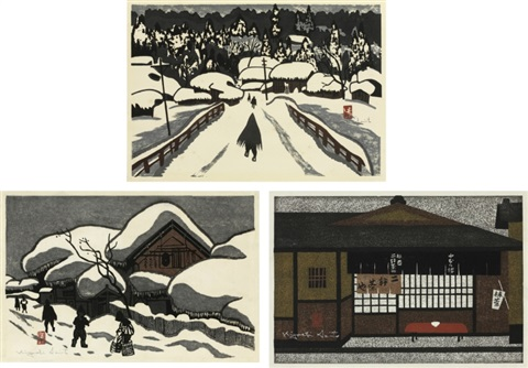 winter in aizu winter in aizu tea house set of 3 by kiyoshi saito