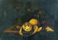 nature morte de pêche, raisin, pastèque et citron sur un entablement by guilliam van deynum
