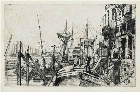 limehouse from the thames set by james abbott mcneill whistler