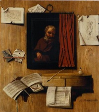 a trompe-l'oeil with a partially covered painting of an apostle, prints and letters on a wall, and manuscripts, an inkwell, quill pen and other objects on a shelf by andrea domenico remps