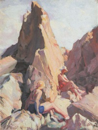 bathers on the rocks by henry young alison