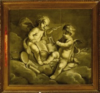 two music-making putti with the doves of venus by jacob de wit