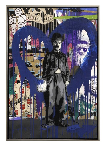 chaplin blue heart by mr brainwash