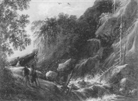 alpine landscape with three travelers by a stream by catharina van knibbergen