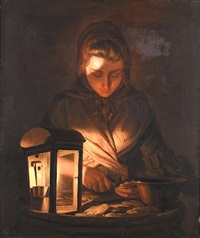 a young woman shucking oysters by lamplight by henry robert morland
