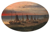 flatboats on the beach by jan geerard smits