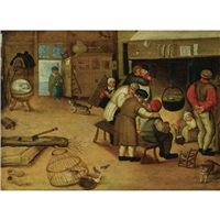 interior with peasants warming themselves by a fire by pieter balten