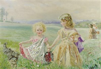 children garlanded with flowrs in a meadow by j. deane simmons