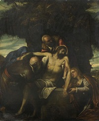 la mise au tombeau by domenico tintoretto
