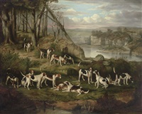 a pack of foxhounds on a bank above a rocky gorge by william smith