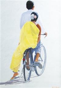sari jaune à pondichery by arnaud d' aunay
