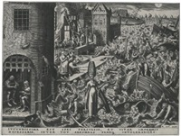 the seven virtues: hope; charity; fortitude; and temperance (by philips galle) (set of 4) by pieter brueghel the elder