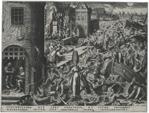 the seven virtues hope charity fortitude and temperance by philips galle set of 4 by pieter brueghel the elder