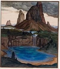 landschaft mit wolken, felsen, wasser by herbert reyl-hanisch