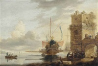 a state galley in the harbour of a fortified town by bonaventura peeters the elder