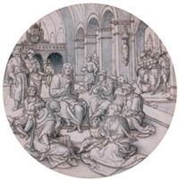 projet de vitrail: le christ prêchant dans la synagogue (design) by dirk jacobsz vellert
