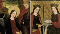 the virgin and saint joseph (+ two female saints, verso; 2 works) by german school-cologne (16)
