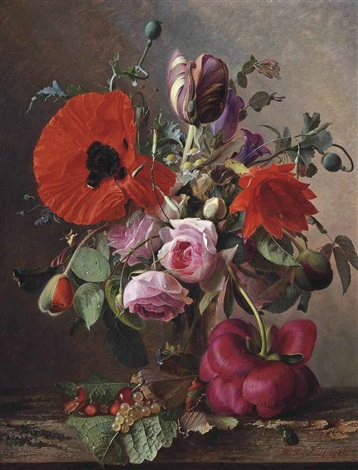 poppies tulips and roses in a vase by strawberries and grapes on a wooden shelf by theude grönland