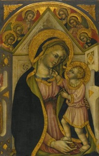 the madonna and child enthroned with adoring angels by priamo della quercia