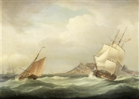 h.m.s. illustrious heading out of table bay in choppy conditions and a stiff breeze by thomas whitcombe