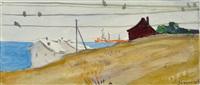 häuser an der küste, im hintergrund hafenanlagen by mikhail abdullayev