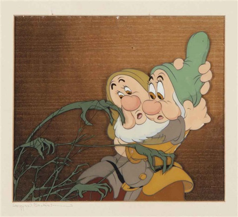 sneezy and bashful from snow white and the seven dwarfs by disney studios