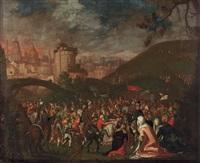 christus, das kreuz tragend, mit den drei marien, reicher figurenstaffage und architektur im hintergrund by gillis van valckenborch