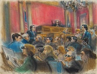 new york city corruption trial with sketch artists in foreground by ida libby dengrove