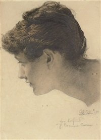 head of a woman (mrs comyns-carr?) (study for a foregone conclusion) by sir lawrence alma-tadema