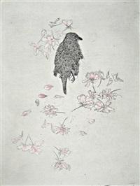 bird with cherry blossom by kiki smith