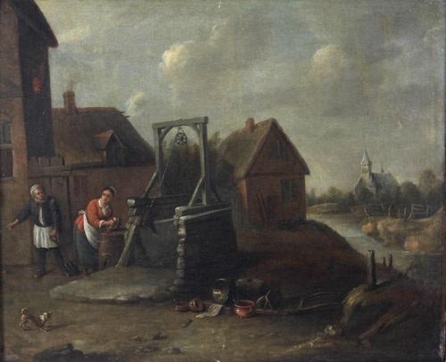 an einem brunnen steht eine magd beim abwasch von geschirr, neben ihr ein alter mit spaten, im hintergrund dorfkulisse by david teniers the younger