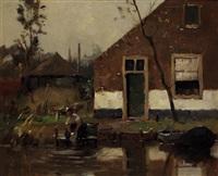lavandières près du canal by piet mondrian