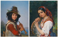 portrait of an italian shepherd boy with a flute (+ a shepherd girl with a tambourine; 2 works) by pimen nikitich orlov