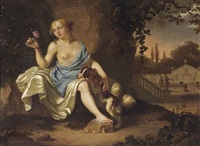 a classical park landscape with a seated lady dressed as a nymph and her dog by ary de vois