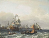 the dutch fleet lying in the harbour at amsterdam, with the flagship approaching by aernout (johann arnold) smit