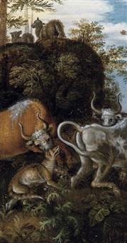 bétail attaqué par un chacal dans un paysage boisé by roelandt savery