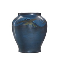 exceptional and rare vase with seagulls and waves by arthur e. baggs