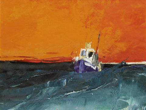 study seascape orange sky by donald hamilton fraser