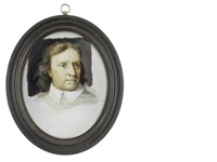 oliver cromwell (1599-1658), lord protector of england, scotland and ireland (1653-1658), wearing white collar (after samuel cooper) by michael bartlett