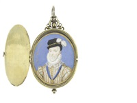 two portrait miniatures of a nobleman and a lady (2 works) by nicholas hilliard