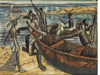 fishermen on the beach by ben enwonwu