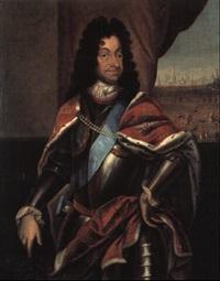 portraet af christian v i rustning i baggrunden ryttere og by by jacques (jacob) d' agar