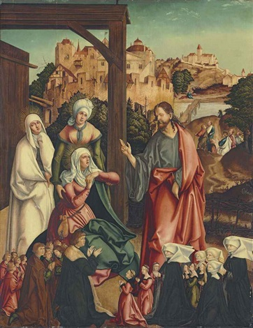 christ taking leave of his mother with a donor family kneeling in the foreground by german school augsburg 16