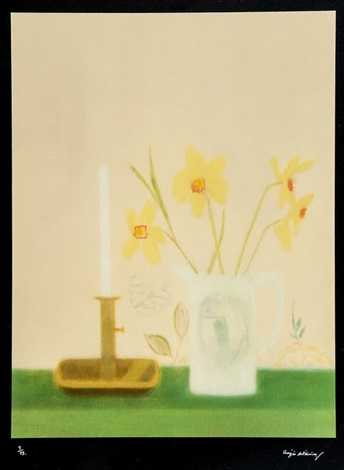 daffodils and candlesticks by craigie aitchison