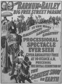 the barnum & bailey big free street parade by posters: circus