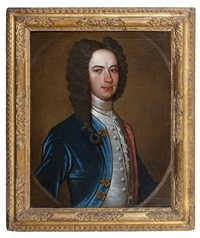 portrait of a gentleman, half-length, in a blue velvet coat by richard waitt