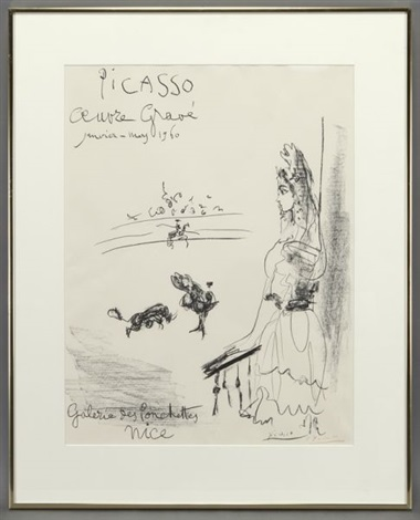 femme au balcon affiche oeuvre grave by pablo picasso