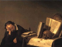 scholar resting by table with globe, books, skull by simon luttichuys